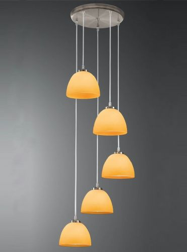 Franklite CO9575/937 Satin Nickel & Orange Pendant Light